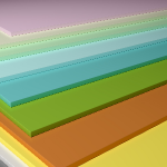 Sheets of different colors and thicknesses